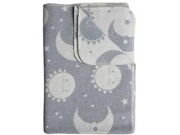 ava&yves Kinder Decke Flanell Sonne Mond grau/weiss 100x140 cm