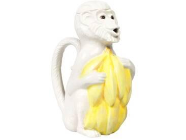 &klevering Affenkanne mit Banane Keramik weiss/gelb 1,4 Liter