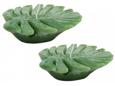 &klevering Monstera Kerze Teelicht Wachs grün Set 2 Stück