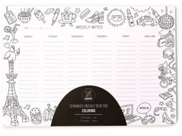 OMY design & play Weekly Planner Coloring Wochenplaner Block 27x19 cm