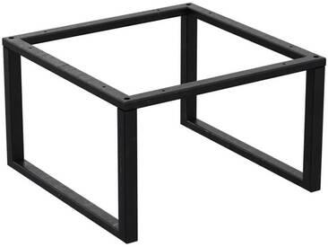 Couchtisch Kaffeetisch Wohnzimmertisch Industrie Design Metallgestell ohne Tischplatte, HLMK-02-0000 Rohstahl mit Klarlack 50x50x35 cm