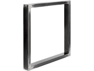 Design Tischkufen aus Vierkantprofilen 80x40 mm, Tischgestell, Tischbeine, 1 Stück, HLT-01-B-80 x 72 cm 0000 Rohstahl mit Klarlack