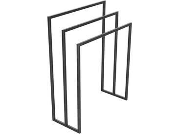 Handtuchständer 3 Badetuchstangen Handtuchhalter Freistehend, Tiefe 30 cm HLMH-02B-70 cm 88 cm 0000 Rohstahl mit Klarlack