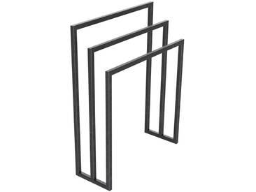 Handtuchständer 3 Badetuchstangen Handtuchhalter Freistehend, Tiefe 20 cm HLMH-01B-50 cm 72 cm 0000 Rohstahl mit Klarlack
