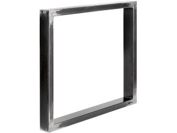 Design Tischkufen aus Vierkantprofilen 80x40 mm, Tischgestell, Tischbeine, 1 Stück, HLT-01-B-90 x 72 cm 0000 Rohstahl mit Klarlack