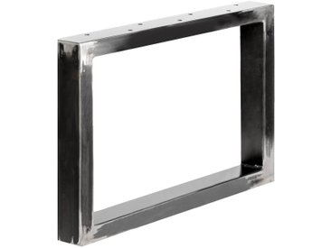 Design Tischkufen aus Vierkantprofilen 60x30 mm, Tischgestell, Tischbeine, 1 Stück, HLT-01-D-64 x 40 cm 0000 Rohstahl mit Klarlack