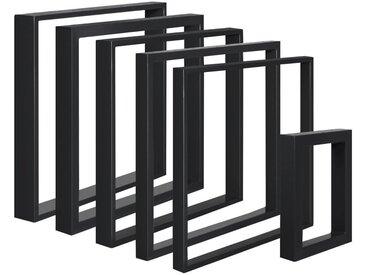 Design Tischkufen aus Vierkantprofilen 60x20 mm, Tischgestell, Tischbeine, 1 Stück, HLT-01-E-70 x 72 cm RAL 9005 Tiefschwarz