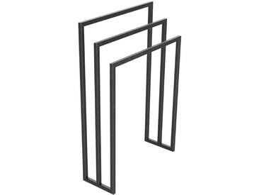 Handtuchständer 3 Badetuchstangen Handtuchhalter Freistehend, Tiefe 20 cm HLMH-01B-50 cm 84 cm 0000 Rohstahl mit Klarlack