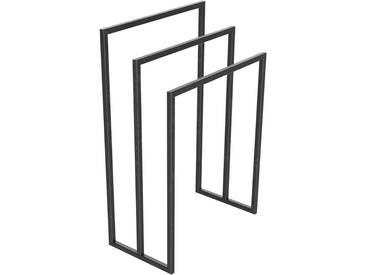 Handtuchständer 3 Badetuchstangen Handtuchhalter Freistehend, Tiefe 30 cm HLMH-02B-60 cm 78 cm 0000 Rohstahl mit Klarlack