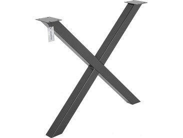 X-Tischbein aus Vierkantprofilen 60x60 mm, Tischkufen X Gestell Industriedesign, 1 Stück, HLT-03-G-80 x 72 cm RAL 7016 Anthrazitgrau