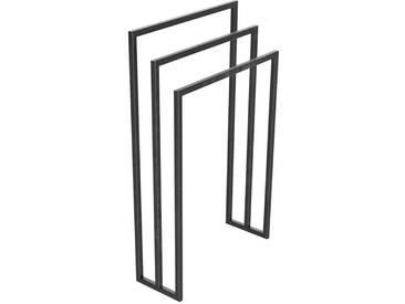 Handtuchständer 3 Badetuchstangen Handtuchhalter Freistehend, Tiefe 20 cm HLMH-01B-55 cm 90 cm 0000 Rohstahl mit Klarlack