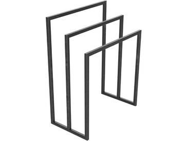 Handtuchständer 3 Badetuchstangen Handtuchhalter Freistehend, Tiefe 30 cm HLMH-02B-50 cm 70 cm 0000 Rohstahl mit Klarlack