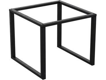 Couchtisch Kaffeetisch Wohnzimmertisch Industrie Design Metallgestell ohne Tischplatte, HLMK-02-0000 Rohstahl mit Klarlack 50x50x40 cm