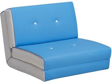 Schlafsessel Jugendsessel Gästebett Kindersessel Klappsessel Kunstleder hellblau weiß klein
