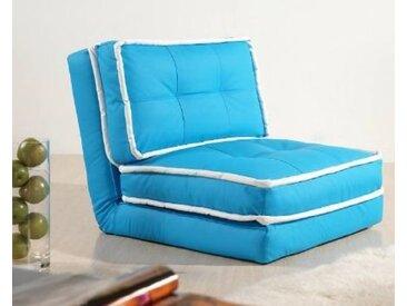 Schlafsessel Jugendsessel Gästebett Kindersessel Klappsessel Kunstleder hellblau mit weißem Saum groß