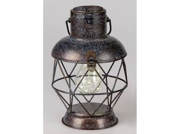Deko Lampe, Laterne WILI TOBAGO mit Licht H. 25,5cm antikbraun Metall Formano