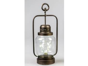 LED Laterne, Lampe HELGOLAND H. 40cm B. 17,5cm antik Metall + Glas Formano W18