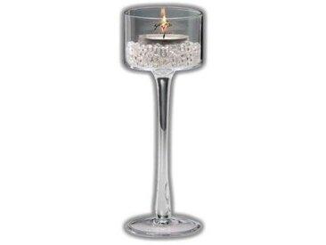 Kerzenhalter, Teelichthalter auf Fuß, Glas, H.25 cm, Ø 9cm, rund, Sandra Rich