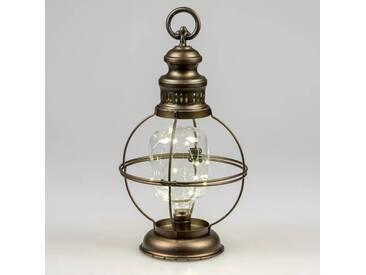 LED Deko Laterne, Lampe HELGOLAND H. 40cm antik Metall + Glas Formano W18
