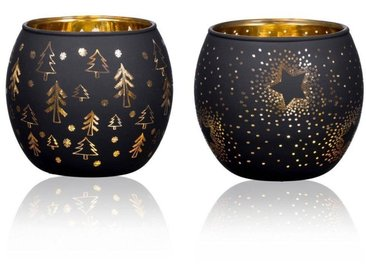 2er Set Teelichthalter GOLDEN NIGHT H. 7cm D. 8cm Glas Sandra Rich