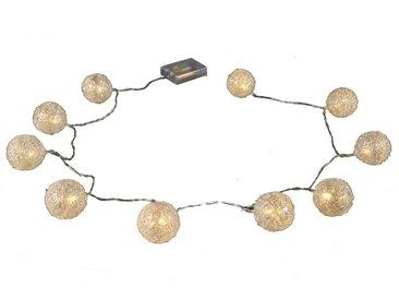 Lichterkette DILAYA KUGELN mit 10 LEDs Länge 175cm D. 5cm weiß Decostar W17