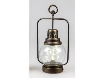 LED Deko Laterne, Lampe HELGOLAND H. 38cm antik Metall + Glas Formano W18