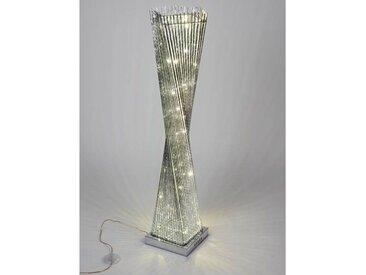 LED Bodenlampe, Leuchte DRAHT eckig H. 100cm 25x25cm silber gedreht Formano