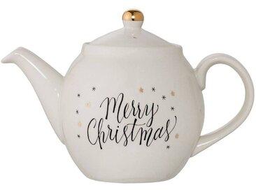 Teekanne MERRY CHRISTMAS D. 24cm H. 16cm Steingut weiß gold Bloomingville