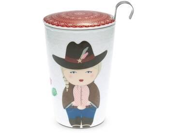 TEAEVE® Teetasse, Becher mit Sieb und Deckel COWGIRL im Geschenkkarton Eigenart