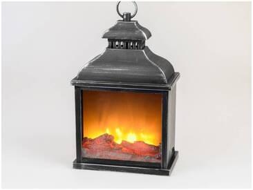 Deko Laterne, Lampe mit Kaminfeuer H. 38cm B. 25cm schwarz silber Formano