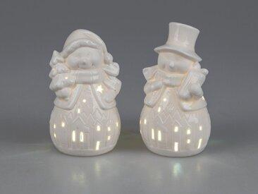 2er Set LED Dekofiguren Schneemann H. 14cm weiß Porzellan W19