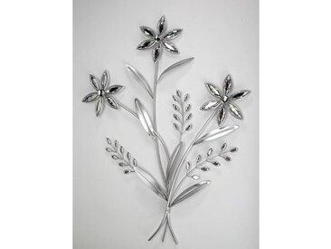 Wanddeko, Wandbild Blumen mit 3 Blüten silber Metall H. 68cm Formano