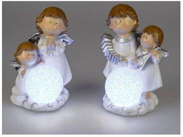 2er Set LED Dekofiguren Engelpaar H. 21cm weiß silber Formano W19