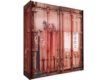 Zurbrüggen Schwebetürenschrank 2-türig CONTAINER, rot, Holznachbildung