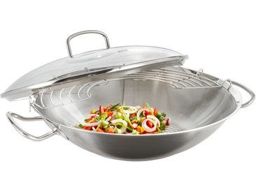 Fissler Wok m. Metalldeckel ORIGINAL PROFI COLLECTION, Silber, Edelstahl