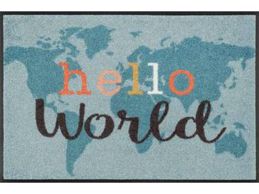 Kleen-Tex Fußmatte Hello World, blau, Polyamid