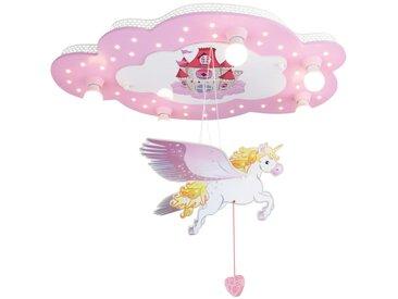 Elobra Deckenleuchte Wolke mit Einhorn, rosa, Holz