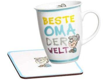 Ritzenhoff & Breker Kaffeebecher mit Untersetzer KABE M/U, multicolour, Porzellan