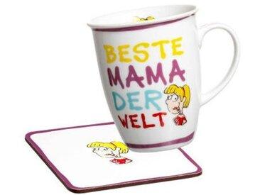 Ritzenhoff & Breker Kaffeebecher mit Untersetzer, multicolour, Porzellan