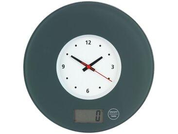 Zurbrüggen Küchenwaage Time mit Uhr Grau, grau, Glas
