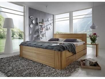 Massivholzbett Egholm, Kernbuche Massivholz, 180x200cm mit Bettschubladen