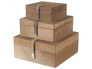 Aufbewahrungsboxen Set (3-er Set) aus behaartem Leder