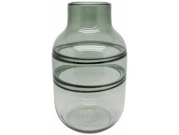 Glasvase 'Grau' mit Linien - H34 5 x D20 5 cm