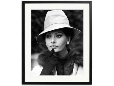Sophia Loren 1964 Schwarz Weiß Foto eingerahmt