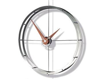 Design Wanduhr Doble O i in verchromten Stahl Diameter 70 cm