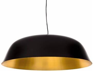 Design-Hängelampe  Cloche Three  in schwarz mit goldfarbener Inne