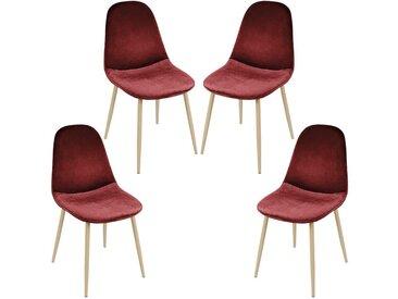 JEOBEST Esszimmerstühle  4 Stk. | Lounge Lounge-Sessel+ Eisenfuß | - Weinrot