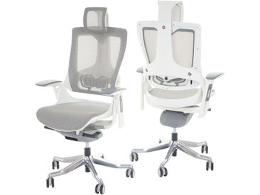 Bürostuhl MERRYFAIR Wau 2, Schreibtischstuhl Drehstuhl, Polster/Netz, ergonomisch  weiß-grau