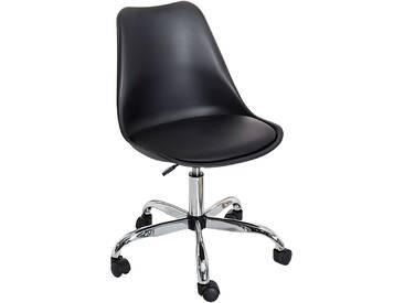 Retro Designklassiker Bürostuhl SCANDINAVIA MEISTERSTÜCK schwarz mit hochwertig verchromten Stuhlgestell