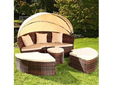 Sonneninsel mit Tisch Rattan Sonneninsel Polyrattan Gartenmuschel Sonnenliege!